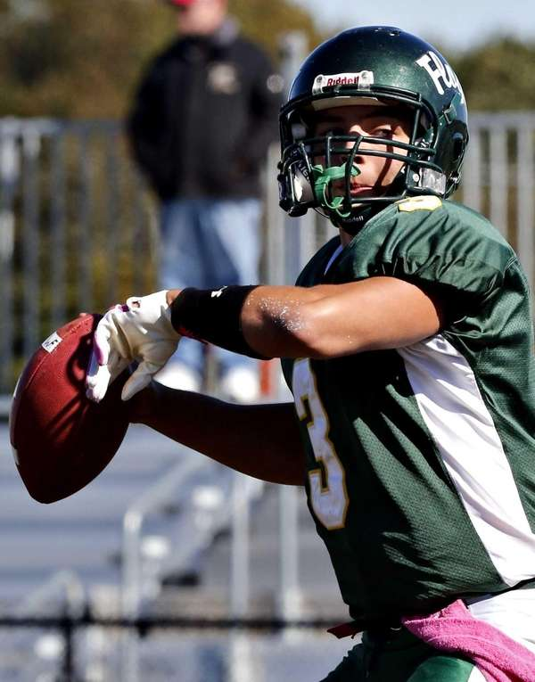 William Floyd quarterback A.J Otranto (3) steps into
