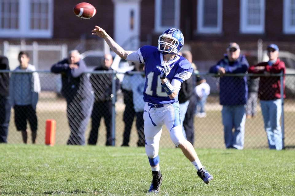 Riverhead's Ryan Bitzer throws a pass in a