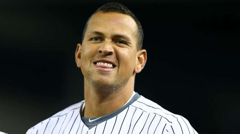 Alex Rodriguez reacts after grounding into a fielder's