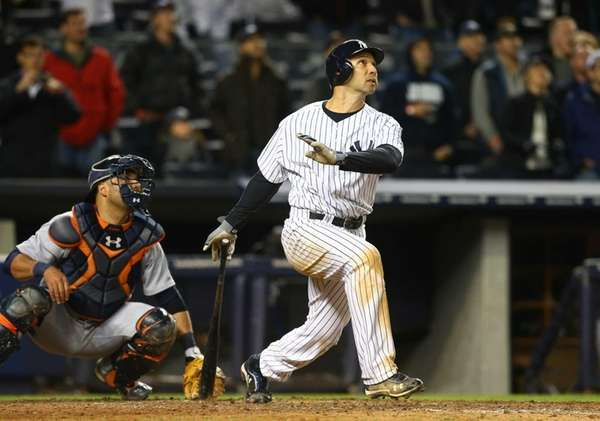 Raul Ibanez of the New York Yankees follows