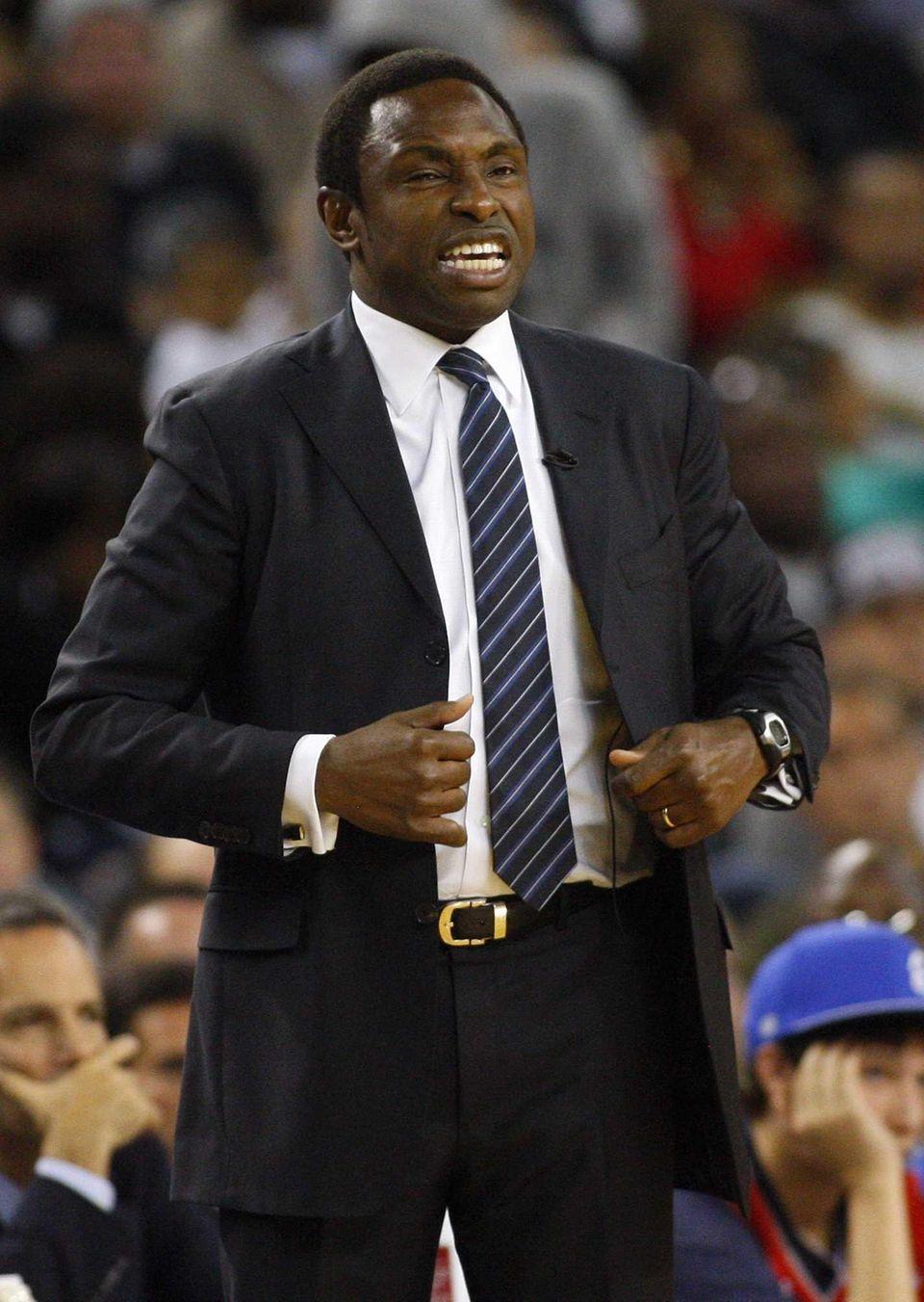 Brooklyn Nets head coach Avery Johnson yells to