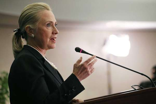 U.S. Sec. of State Hillary Clinton speaks about
