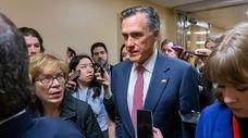 Sen. Mitt Romney (R-Utah) speaks Monday about the