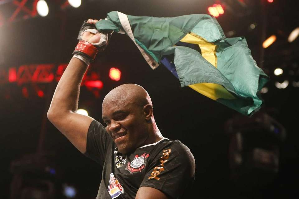 Anderson Silva, from Brazil, celebrates after defeating Stephan