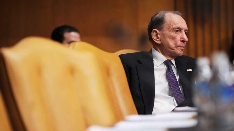 U.S. Sen. Arlen Specter (D-Pa.) listens to testimony