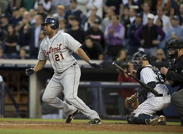 Detroit Tigers designated hitter Delmon Young hits an