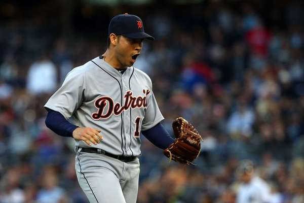 Anibal Sanchez of the Detroit Tigers reacts after