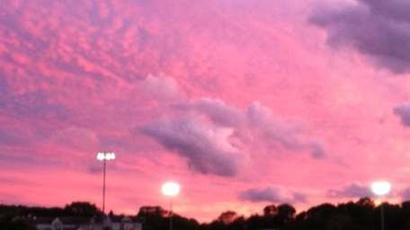 The pink sky over Hauppauge High School from