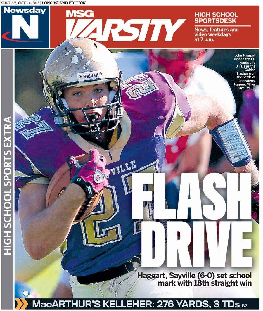 The Nassau and Suffolk editions featured Sayville football