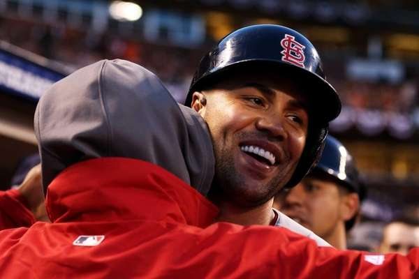 Carlos Beltran of the St. Louis Cardinals celebrates
