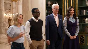 Kristen Bell, left, William Jackson Harper, Ted Danson