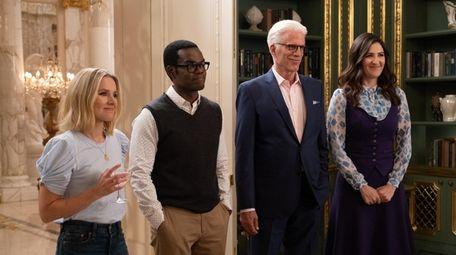 Kristen Bell, left, William Jackson Harper, Ted Danson