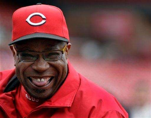 Cincinnati Reds manager Dusty Baker laughs as he