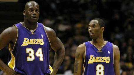 Shaquille O'Neal and Kobe Bryant of the Lakers