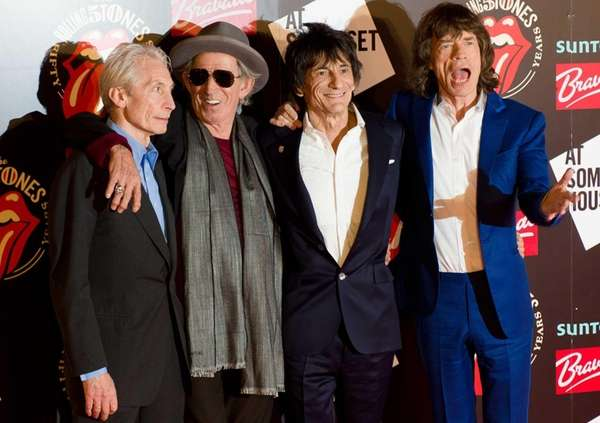 Charlie Watts, left, Keith Richards, Ronnie Wood and