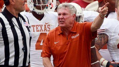 Texas head coach Mack Brown yells at an