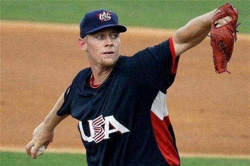 USA starting pitcher Stephen Strasburg throws during a