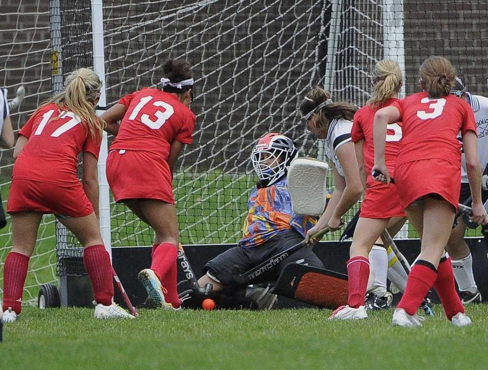 Commack goalkeeper Erin Morrissey makes a save against