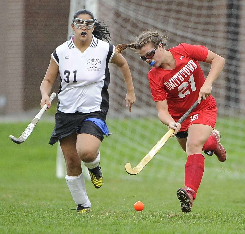 Smithtown East forward Mackenzie Buckley moves the ball