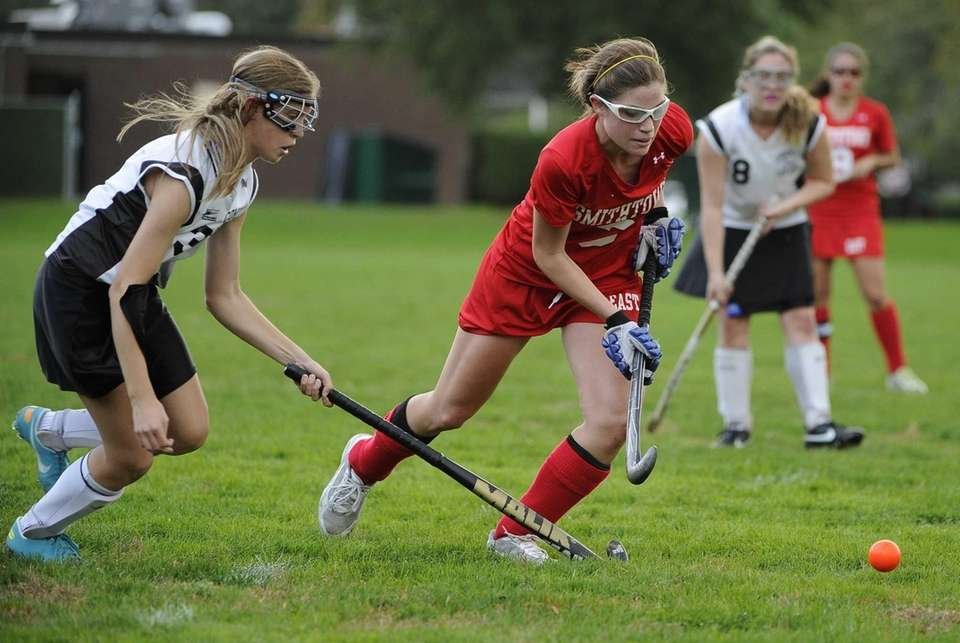 Smithtown East midfielder Sami Nizich is defended by