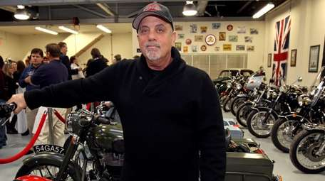 Billy Joel in his Oyster Bay motorcycle shop