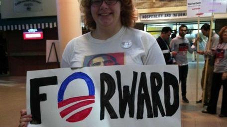 Hofstra University senior Cyndi Robuck, 21, holds up
