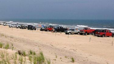 "Vehicles line ""Truck Beach"" in Amagansett in 2016,"