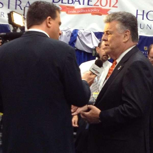 Rep.Peter King making the rounds talking to reporters