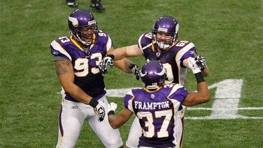 Minnesota Vikings defensive end Jared Allen celebrates his