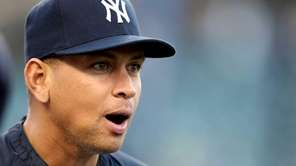 Alex Rodriguez looks on during batting practice before
