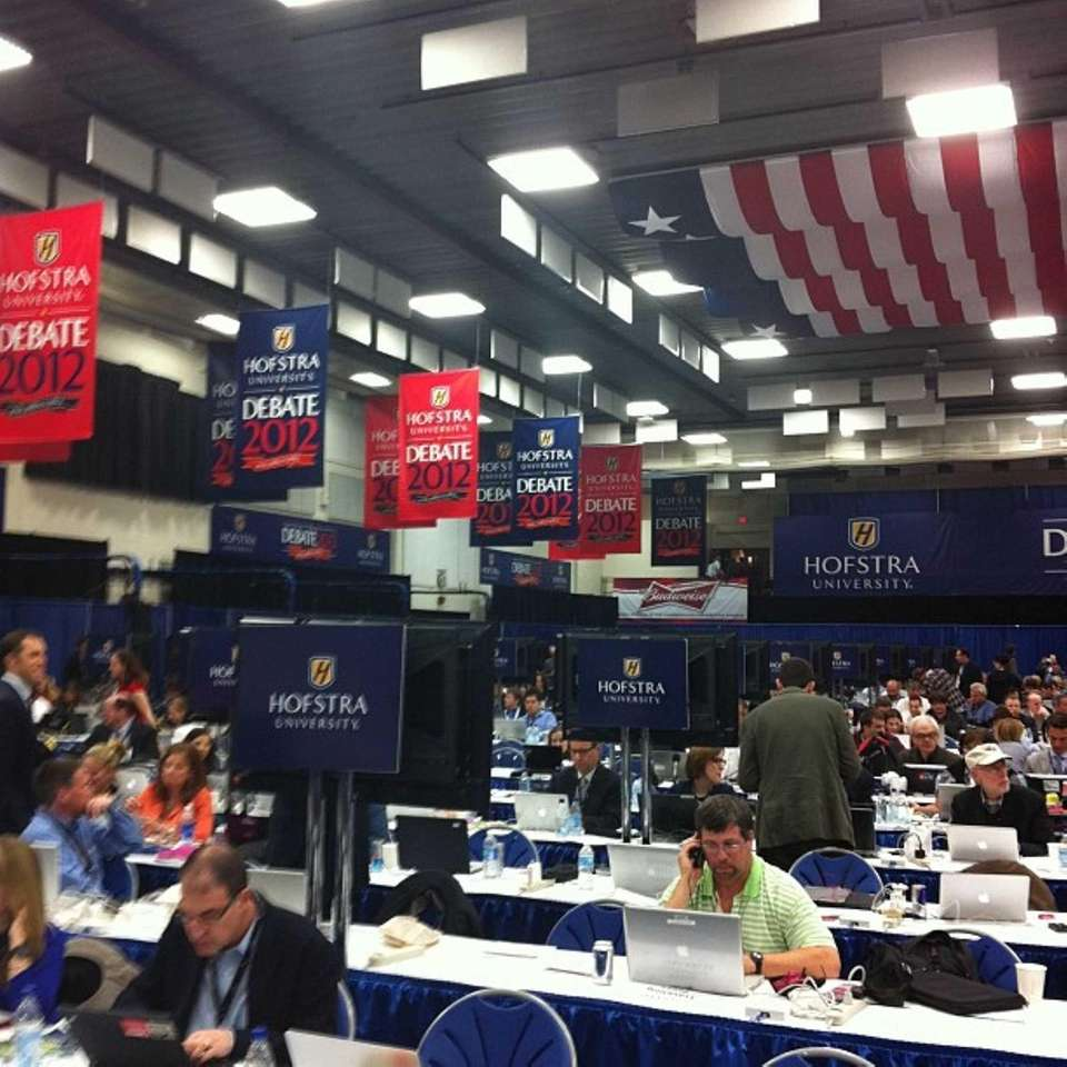 Reporters reporting. Go time is near. #hofdebate (Oct.