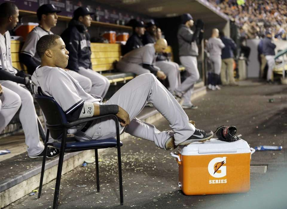 Robinson Cano watches as the Yankees bat in