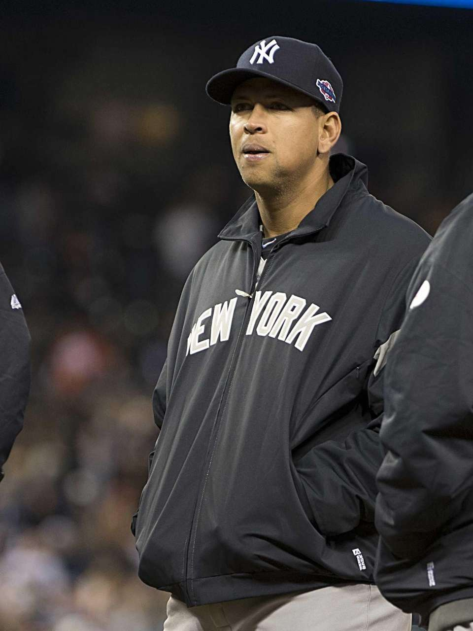 New York Yankees' Alex Rodriguez dressed warm after