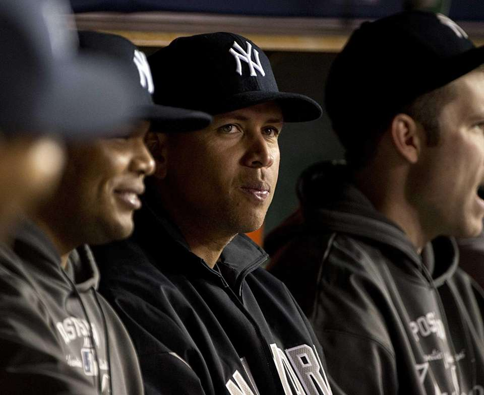 Alex Rodriguez on the bench at the