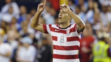 United States forward Clint Dempsey celebrates after scoring
