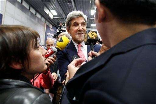 Sen. John Kerry, D-Mass., speaks to reporters in