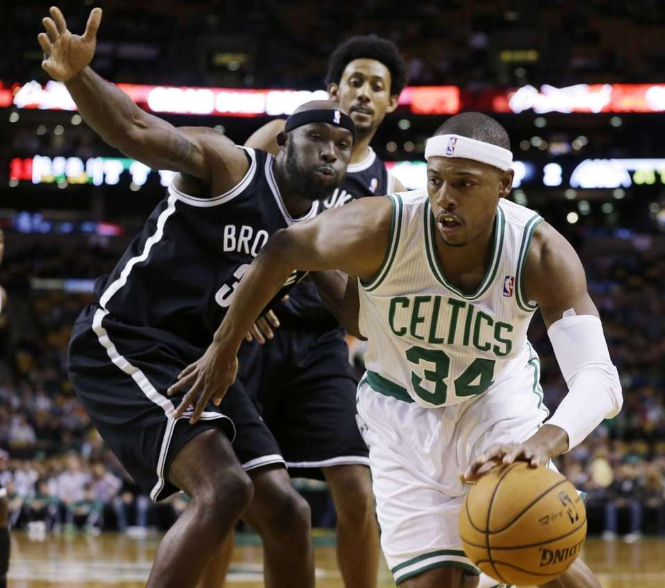 Boston Celtics' Paul Pierce (34) drives against Brooklyn