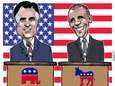 Gov. Mitt Romney and President Barack Obama squared