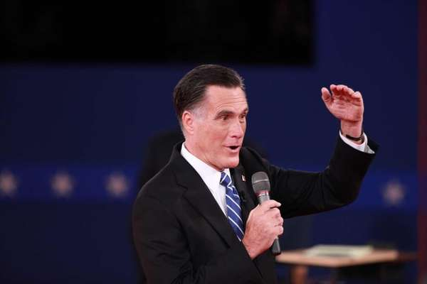 GOP presidential nominee Mitt Romney address the audience