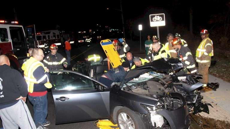 A 30-year-old woman was seriously injured in one-car