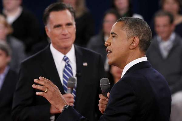 President Obama and Mitt Romney debate at Hofstra