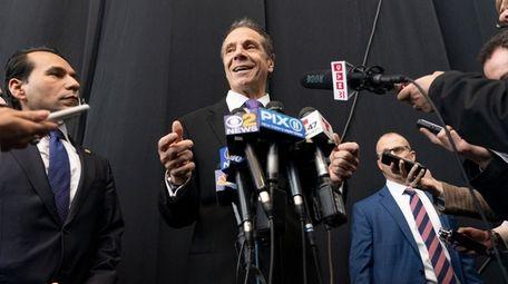 Gov. Andrew M. Cuomo speaks to the media