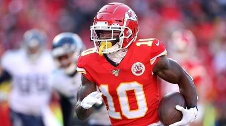Tyreek Hill of the  Chiefs runs for