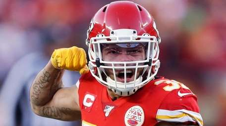 The Chiefs' Tyrann Mathieu reacts during the second