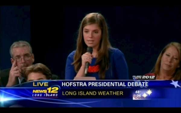 Katherine Fenton, an uncommitted voter, asks President Barack