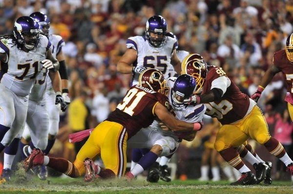 Christian Ponder of the Minnesota Vikings is sacked