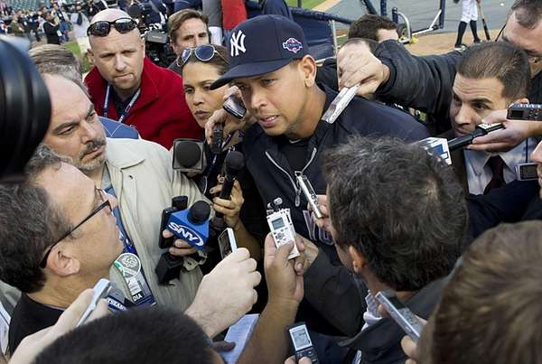 Alex Rodriguez talks to the media before Game