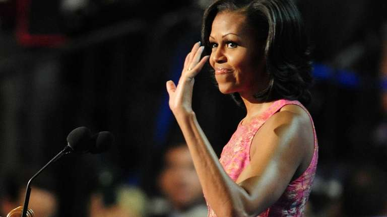 First lady Michelle Obama takes the stage to