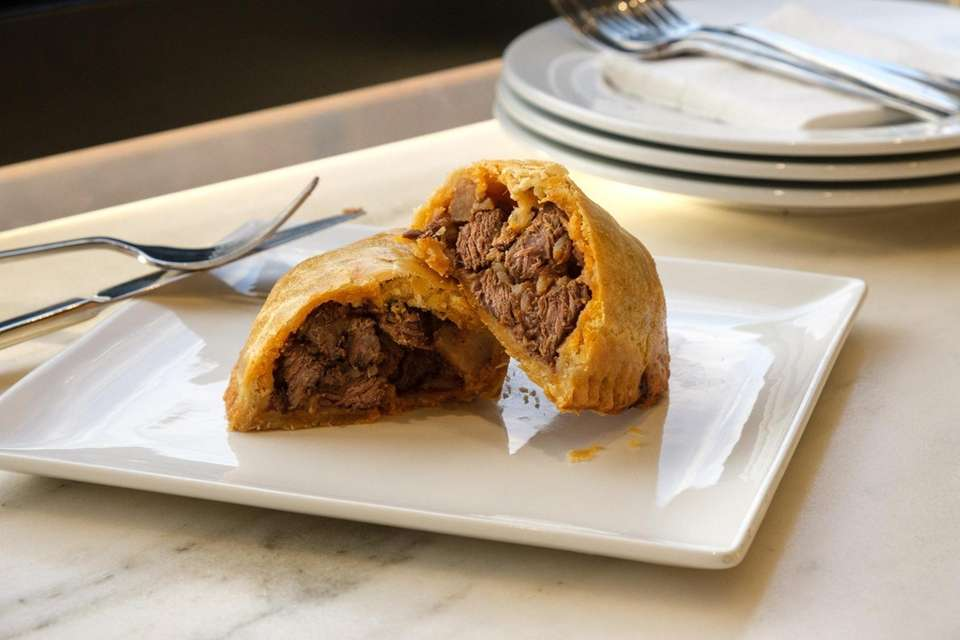 Kefalonitiki kreotopia, a hand pie filled with beef,