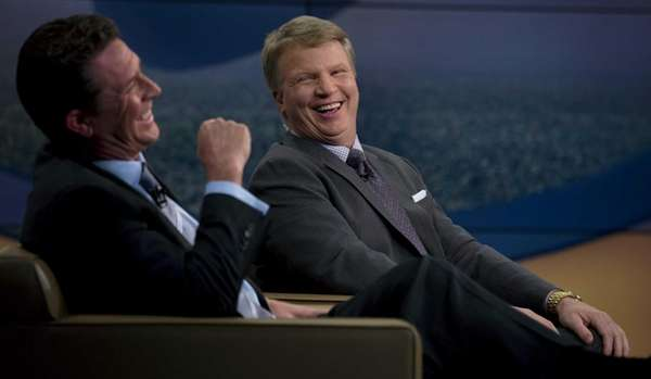 Phil Simms, right, and guest host Dan Marino